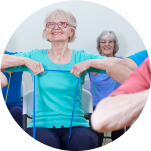 Golden Girls Keep Fit class in Creaton, Northants offers gentle movements sitting and standing.